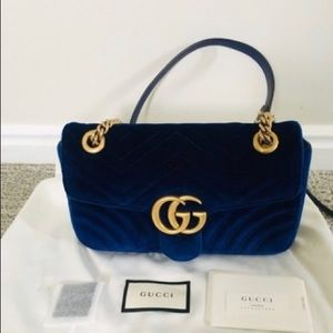 Navy blue suede Gucci marmont bag